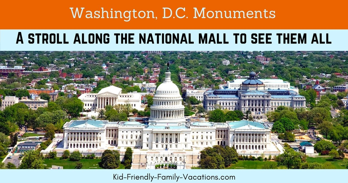 Visiting the Washington DC Monuments includes a visit to the Washington Monument, the Jefferson Memorial and the Lincoln Memorial