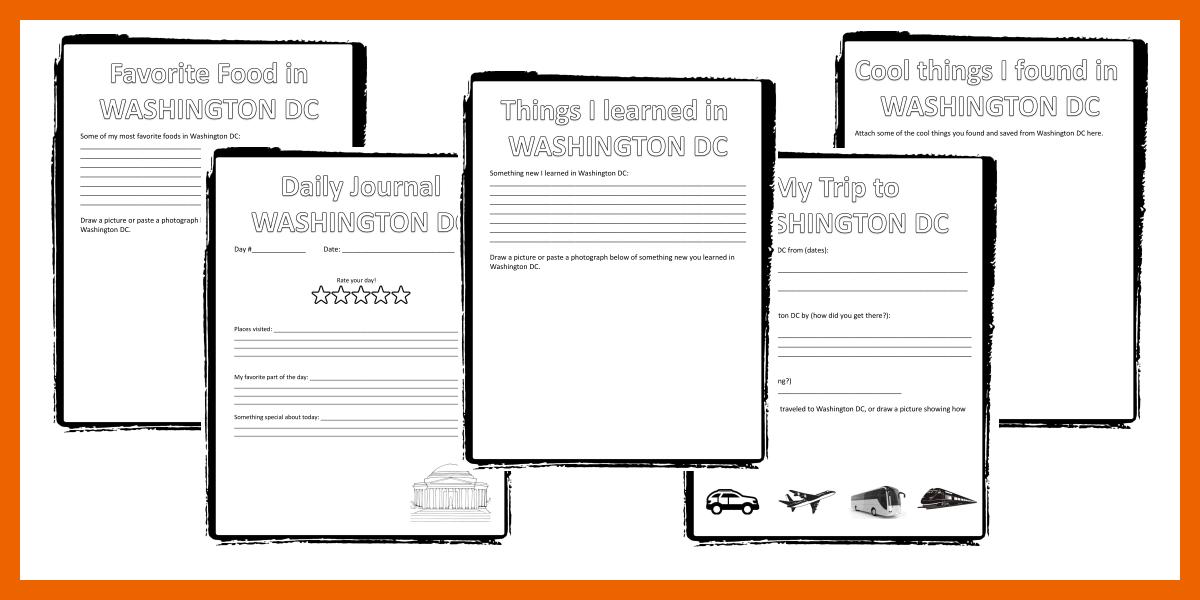 washington dc travel journal for kids