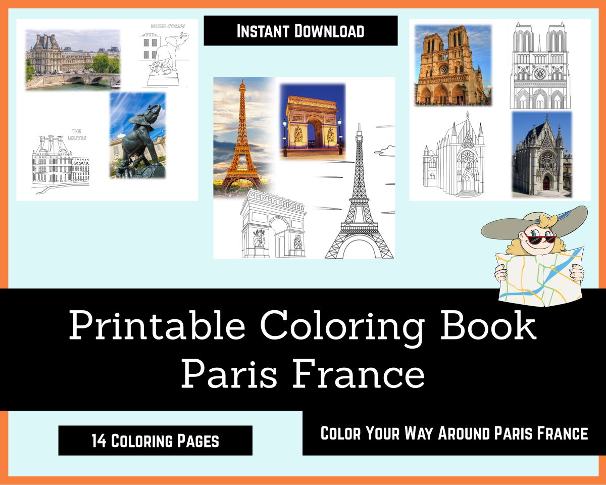 paris france coloring book